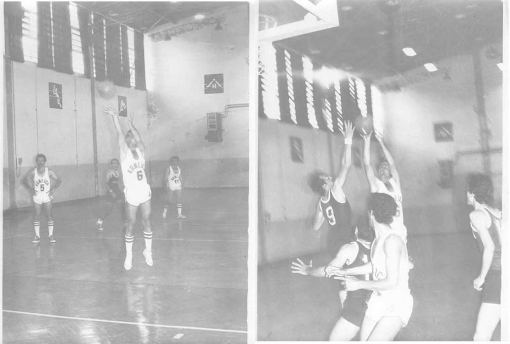 Muhtemelen eski Burhan Felek Salonu'nda maçta, 6 numaralı oyuncuyum, birinde faul diğerinde jump shot… Kanlıca, 1979.